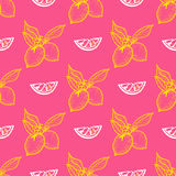 Seamless pattern with lemon. On pink background, vector illustration Royalty Free Stock Photos