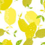 Seamless pattern with lemons, background of fruits. Vector illustration Royalty Free Stock Images