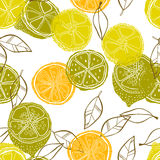 Seamless pattern with lemons, background of fruits. Vector illustration Stock Photography