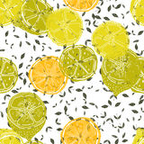 Seamless pattern with lemons, background of fruits. Vector illustration Stock Images