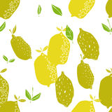 Seamless pattern with lemons, background of fruits. Vector illustration Royalty Free Stock Photo