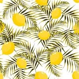 Seamless pattern with lemons and green, yellow palm leaves on the light background. stock illustration