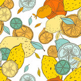 Seamless pattern with lemons with leaves, background of fruits. Vector illustration. Seamless pattern with lemons with leaves, background of fruits Royalty Free Stock Photos