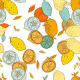 Seamless pattern with lemons with leaves, background of fruits. Vector illustration. Seamless pattern with lemons with leaves, background of fruits Stock Photos