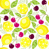 Seamless pattern Lemons with leaves and cherry on a white background. Vector illustration royalty free illustration