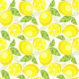Seamless pattern Lemons with leaves on a white background. Stock Images