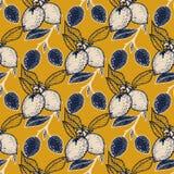 Seamless pattern of lemons. Seamless pattern with lemon on yellow background,  illustration Royalty Free Stock Image