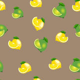 Seamless pattern with lemons and limes with leaves and slices. Brown background. Royalty Free Stock Photography