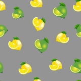 Seamless pattern with lemons and limes with leaves and slices. Gray background. Royalty Free Stock Images