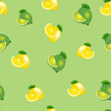 Seamless pattern with lemons and limes with leaves and slices. Light green background. Royalty Free Stock Photo