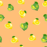 Seamless pattern with lemons and limes with leaves and slices. Orange background. Seamless pattern with lemons and limes with leaves and slices on orange stock illustration