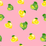 Seamless pattern with lemons and limes with leaves and slices. Pink background. Royalty Free Stock Photography