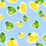 Seamless pattern with lemons and limes with leaves and slices stickers. Blue background. Stock Photography