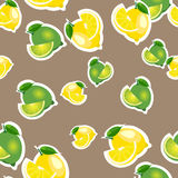 Seamless pattern with lemons and limes with leaves and slices stickers. Brown background. Royalty Free Stock Photos