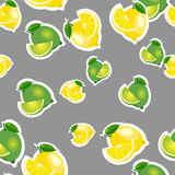 Seamless pattern with lemons and limes with leaves and slices stickers. Gray background. Royalty Free Stock Image