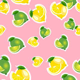 Seamless pattern with lemons and limes with leaves and slices stickers. Pink background. Stock Photography
