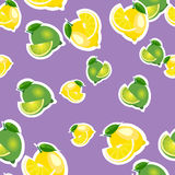 Seamless pattern with lemons and limes with leaves and slices stickers. Purple background. Royalty Free Stock Photography
