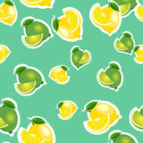 Seamless pattern with lemons and limes with leaves and slices stickers. Turquoise background. Stock Image