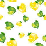 Seamless pattern with lemons and limes with leaves and slices stickers. White background. Royalty Free Stock Photo