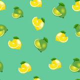 Seamless pattern with lemons and limes with leaves and slices. Turquoise background. Stock Images