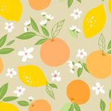 Seamless pattern with lemons and oranges, tropic fruits, leaves, flowers. Fruit repeated background. Plant template for cover, fab stock illustration