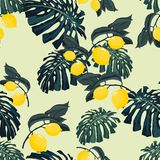 Seamless pattern with lemons and palm monstera leaves on the light background. stock illustration