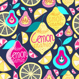 Seamless pattern lemons pears Royalty Free Stock Photography
