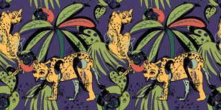 Seamless pattern with leopards and tropical leaves Stock Images