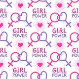 Seamless  pattern with lesbian and feminist symbols. Girl power slogan. Female symbol Royalty Free Stock Image