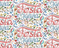 Seamless pattern with lettering Festa junina. Hand drawn lettering. Vector texture for festive postcard, greeting card, wallpaper and your design Royalty Free Stock Images