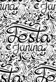 Seamless pattern with lettering Festa junina. Hand drawn lettering. Vector texture for festive postcard, greeting card, wallpaper and your design Stock Image