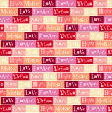 Seamless pattern with lettering of Love, Peace, Dream, Soul, Hope, Music, Romance on colorful background. In pink, red, peach color, wine color, yellow for vector illustration