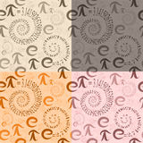 Seamless pattern of  letters e and Pi in the form  spirals Royalty Free Stock Photos