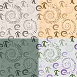 Seamless pattern of  letters e and Pi in the form  spirals Stock Photo