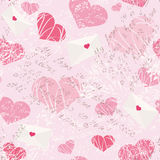 Seamless pattern with letters and hearts stock illustration