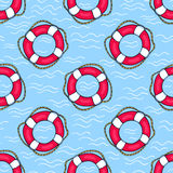 Seamless pattern with lifebuoys Royalty Free Stock Images