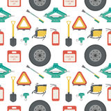 Seamless pattern with lift jack, tow rope, first aid kit, fire extinguisher, spare wheel, shovel, brush. Seamless pattern with lift jack, tow rope, first aid Stock Photography