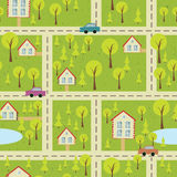 Seamless pattern with light asphalt and houses Royalty Free Stock Photos