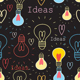Seamless pattern with light bulbs Stock Image