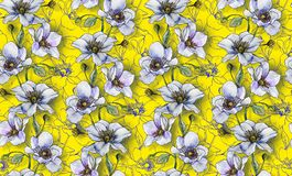 Seamless pattern, light flowers on a light background, wallpaper. Pattern or for fabric making, textile design. Design for interior stock illustration