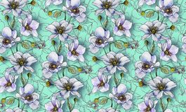 Seamless pattern, light flowers on a light background, wallpaper. Seamless pattern, light flowers on a light turquoise background, wallpaper pattern or for stock illustration