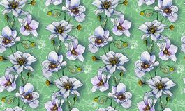 Seamless pattern, light flowers on a light background, wallpaper. Pattern or for fabric making, textile design. Design for interior royalty free illustration