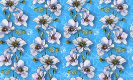 Seamless pattern, light flowers on a light background, wallpaper. Seamless pattern, light flowers on a light blue background, wallpaper pattern or for fabric royalty free illustration