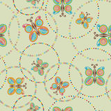 Seamless pattern light green with colorful butterfly in circles Stock Photo