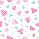 Seamless pattern with light pink and blue hearts. Vector illustration stock illustration