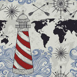 Seamless pattern with lighthouse, waves, compass, world map and wind rose. Vintage hand drawn vector illustration in sketch style stock illustration