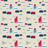 Seamless pattern, lighthouses and village Royalty Free Stock Photo