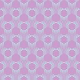 Seamless pattern of lilac color of hexagons and stripes between them. Abstract seamless pattern of lilac color of light green lines of different thickness Stock Images