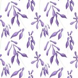 Seamless pattern of lilac flowers of hostas on a white background. Digital illustration. vector illustration