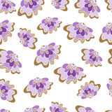 Seamless pattern with lilac flowers. For textiles, interior design, for book design, website background Royalty Free Stock Photos